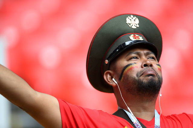 Belgium fan inside the stadium before the Russia 2018 World Cup Group G football match between Belgium and Tunisia at the Spartak Stadium in Moscow on June 23, 2018. (Photo by Carl Recine/Reuters)