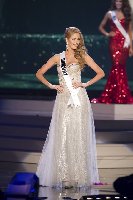 Johana Riva, Miss Uruguay 2014 competes on stage in her evening gown during the Miss Universe Preliminary Show in Miami, Florida in this January 21, 2015 handout photo. (Photo by Reuters/Miss Universe Organization)