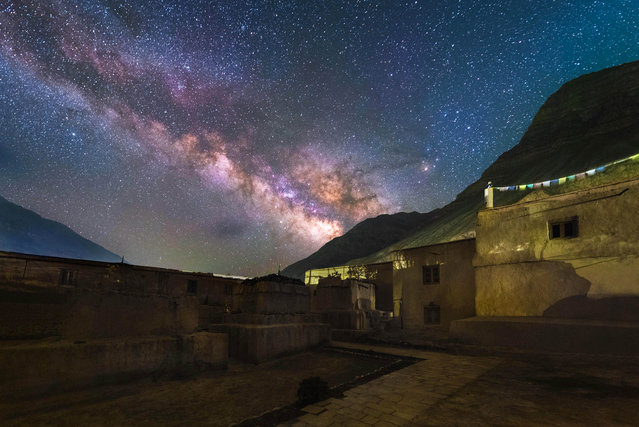 The Tabo Monastery with the Milky-Way in the background in the Spiti Valley, Himachal Pradesh, northern India. (Photo by Grey Chow/Caters News Agency)