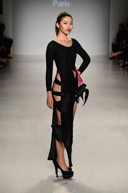 A model walks the runway at the Charity Water fashion show during Mercedes-Benz Fashion Week Fall 2015 at The Salon at Lincoln Center on February 12, 2015 in New York City. (Photo by Frazer Harrison/Getty Images for Mercedes-Benz Fashion Week)