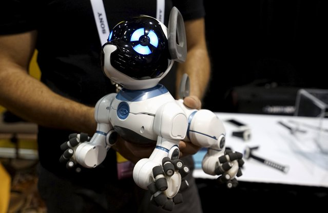 A robotic dog named CHiP by WowWee, described as being able to learn tricks from its owner, is demonstrated at the opening event at the Consumer Electronics Show in Las Vegas January 4, 2016. (Photo by Rick Wilking/Reuters)