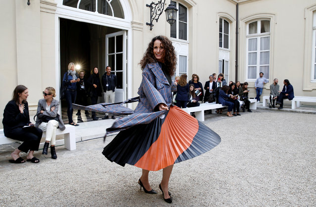 Andie MacDowell poses before the Cedric Charlier Spring/Summer 2019 women's ready-to-wear collection show during Paris Fashion Week in Paris, France, September 28, 2018. (Photo by Stephane Mahe/Reuters)
