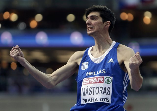 Adonios Mastoras of Greece celebrates his third place at the men's high jump final during the European Indoor Championships in Prague March 8, 2015. REUTERS/David W Cerny (CZECH REPUBLIC  - Tags: SPORT ATHLETICS)