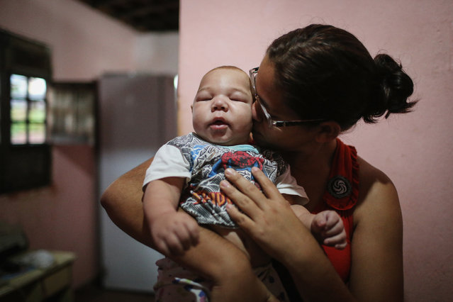 David Henrique Ferreira, 5 months, who was born with microcephaly, is kissed by his mother Mylene Helena Ferreira on January 29, 2016 in Recife, Pernambuco state, Brazil. In the last four months, authorities have recorded around 4,000 cases in Brazil in which the mosquito-borne Zika virus may have led to microcephaly in infants. The ailment results in an abnormally small head in newborns and is associated with various disorders including decreased brain development. According to the World Health Organization (WHO), the Zika virus outbreak is likely to spread throughout nearly all the Americas. (Photo by Mario Tama/Getty Images)