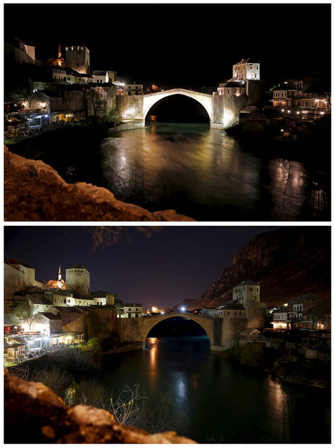 A combination picture shows the Old Bridge before and during the Earth Hour in Mostar March 28, 2015. The 16th-century bridge was destroyed during the war in Bosnia between 1992-1995, rebuilt and opened again in 2004. (Photo by Dado Ruvic/Reuters)