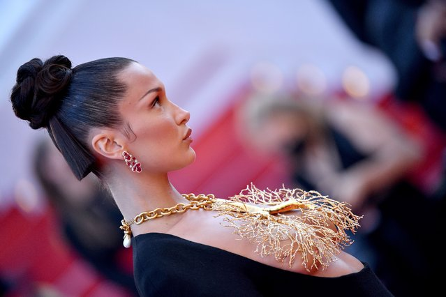 """Bella Hadid attends the """"Tre Piani (Three Floors)"""" screening during the 74th annual Cannes Film Festival on July 11, 2021 in Cannes, France. (Photo by Lionel Hahn/Getty Images)"""
