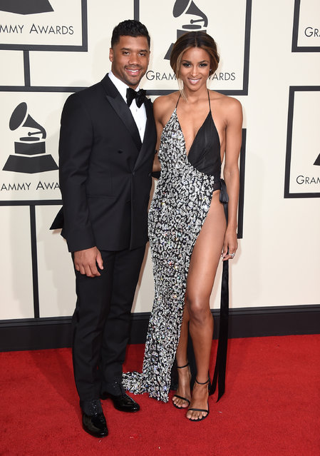 Seattle Seahawks quarterback Russell Wilson, left, and Ciara arrive at the 58th annual Grammy Awards at the Staples Center on Monday, February 15, 2016, in Los Angeles. (Photo by Jordan Strauss/Invision/AP Photo)