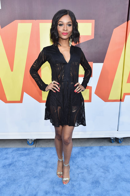 TV personality Zuri Hall attends The 2015 MTV Movie Awards at Nokia Theatre L.A. Live on April 12, 2015 in Los Angeles, California. (Photo by Alberto E. Rodriguez/Getty Images for MTV)