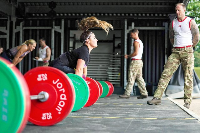 A soldier competes in the weightlifting task during the British Army Warrior Fitness Finals at Sir John Moore Barracks in Winchester on Wednesday, September 1, 2021. (Photo by Steve Parsons/PA Images via Getty Images)