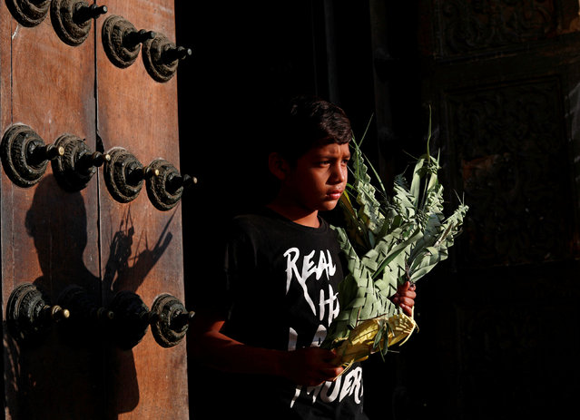 A boy sells palms during a Palm Sunday mass outside the San Francisco Church in Lima, marking the start of the Holy Week, Peru on April 14, 2019. (Photo by Henry Romero/Reuters)