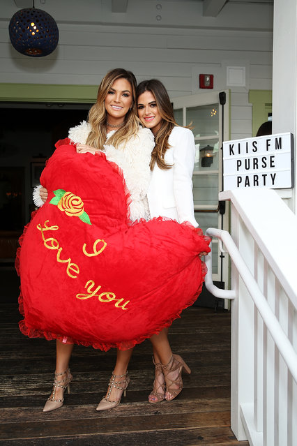 Hosts Becca Tilley (L) and Jojo Fletcher attend Ryan Seacrest's Purse Party at The Bungalow Huntington Beach on February 13, 2017 in Huntington Beach, California. (Photo by Phillip Faraone/Getty Images)