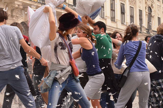 A mass pillow fight in Wien, Österreich on April 5, 2014 on International Pillow Fight Day. (Photo by die.jule ✿)