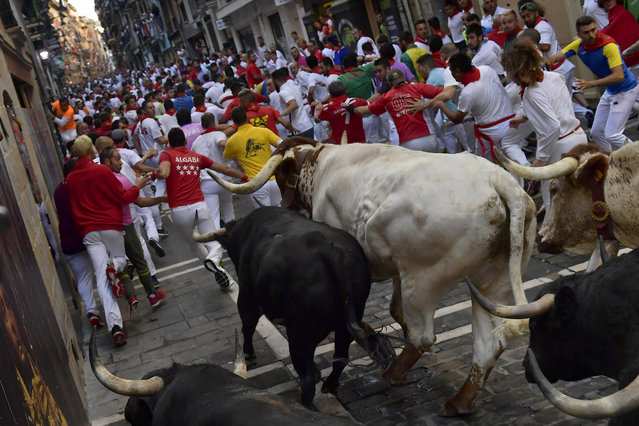 Revellers run next to fighting bulls during the running of the bulls at the San Fermin Festival, in Pamplona, northern Spain, Thursday, July, 11, 2019. Revellers from around the world flock to Pamplona every year to take part in the eight days of the running of the bulls. (Photo by Alvaro Barrientos/AP Photo)