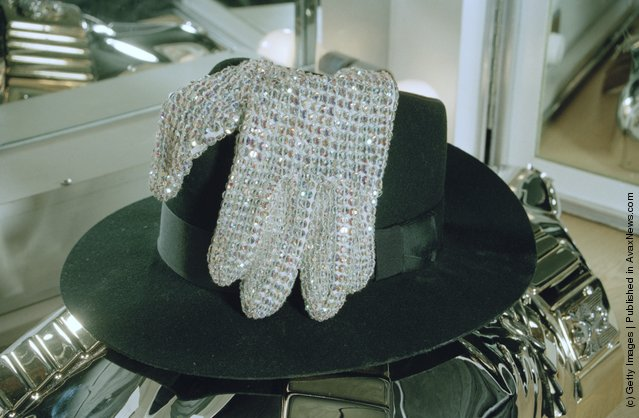 American singer Michael Jackson's fedora hat and gloves backstage in Bremen during the HIStory World Tour, 1997