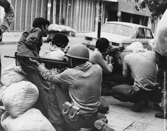 A gun battle in Khorramshahr, in southwestern Iran, during the Iranian Revolution, 1979