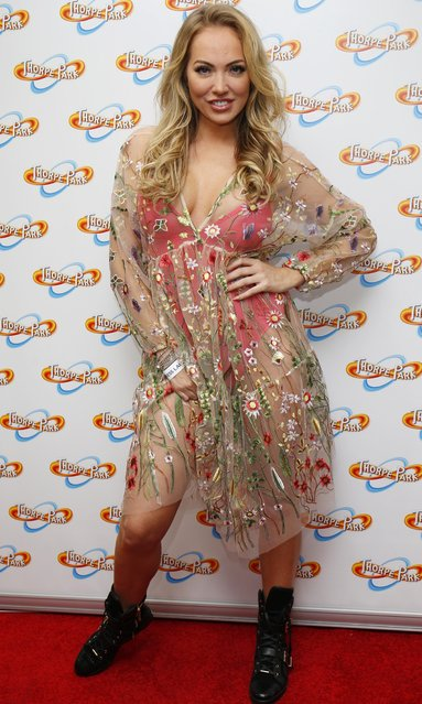 """Aisleyne Horgan-Wallace attends """"Derren Brown's Ghost Train: Rise Of the Demon"""" launch event, at Thorpe Park, Chertsey, UK on March 30, 2017. (Photo by Beretta/Sims/Rex Features/Shutterstock)"""
