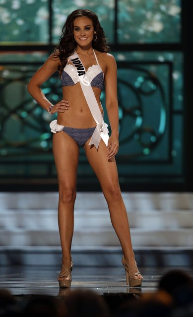 Miss  Iowa, Taylor Even, competes in the bathing suit competition during the preliminary round of the 2015 Miss USA Pageant in Baton Rouge, La., Wednesday, July 8, 2015. (Photo by Gerald Herbert/AP Photo)