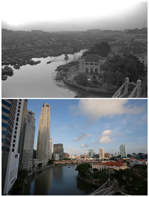 A combination picture shows small boats, known as bumboats, outside shophouses along Singapore River at Boat Quay area in this photo dated September 27, 1965 (top) and the same location May 11, 2015. (Photo by Edgar Su/Reuters/National Archives of Singapore/Ministry of Information and the Arts)