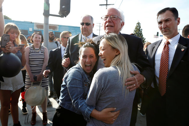 U.S. Democratic presidential candidate Bernie Sanders greets supporters in Los Angeles, California, U.S. June 7, 2016. (Photo by Lucy Nicholson/Reuters)