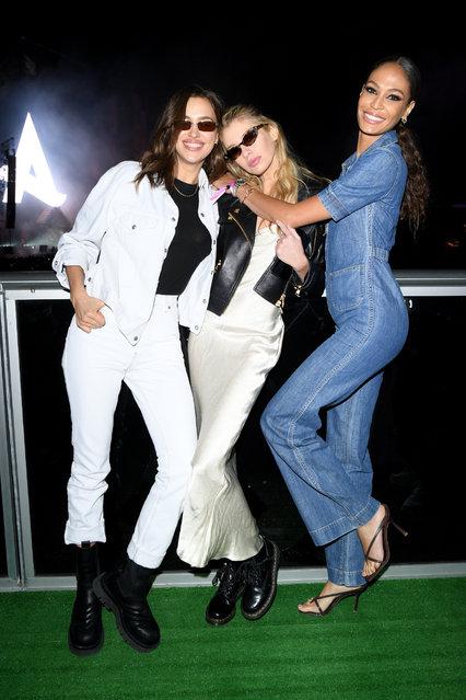 (L-R) Irina Shayk, Stella Maxwell and Joan Smalls attend the MDL Beast Festival on December 21, 2019 in Riyadh, Saudi Arabia. (Photo by Daniele Venturelli/Daniele Venturelli/Getty Images)