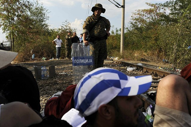 A Macedonian police officer stands guard on the borderline with Greece as migrants rest on the Greek side of the borders, August 20, 2015. (Photo by Alexandros Avramidis/Reuters)