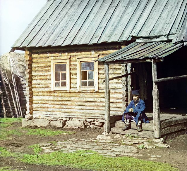 Photos by Sergey Prokudin-Gorsky. Bashkir near his house (In the village of Yakhia). Russia, Ufa Province, Ufa uyezd (district), Yakhino village, 1910