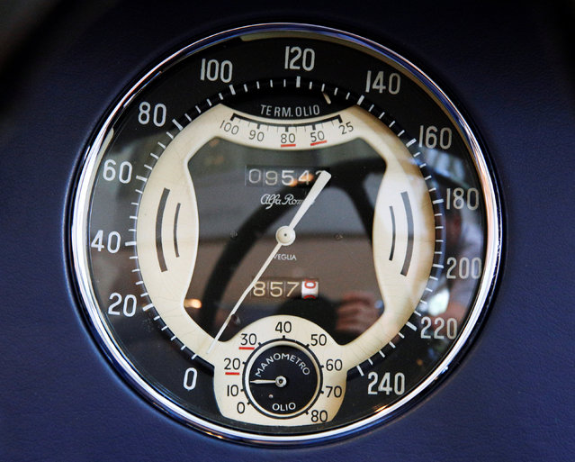 The speedometer of a 1939 Alfa Romeo 8C 2900B Lungo Touring Spider  is displayed at Sotheby's in New York City, New York, U.S. July 21, 2016. (Photo by Brendan McDermid/Reuters)