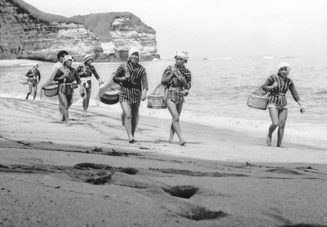 """A group of Japanese skin divers or """"Amas"""" prepare for a day's work near the small fishing village of Onjuku in the Chiba prefecture of Japan, August 1959. Stripped to the waist, they will fill their tubs with the seaweed they harvest. (Photo by Keystone Features)"""