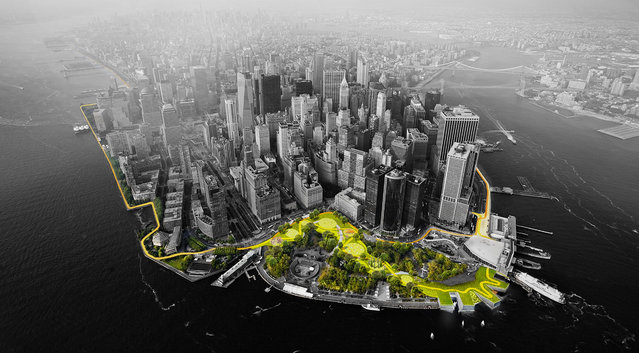This illustration provided by Rebuild by Design in October 2017 shows a flood-mitigation design for the Manhattan borough of New York. The BIG U proposal calls for a 10-mile protective system around the low-lying southern part of the island. The proposal is part of the Rebuild by Design competition to create infrastructure that would protect coastal areas affected by Superstorm Sandy. (Photo by MIT-CAU-ZUS/Rebuild by Design via AP Photo)