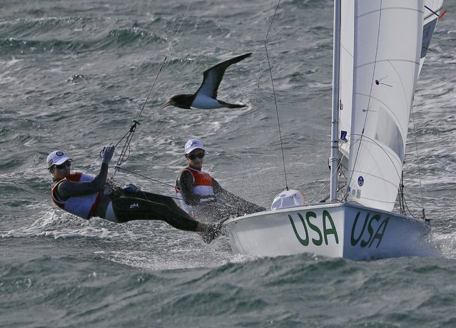 2016 Rio Olympics, Sailing, Preliminary, Women's Two Person Dinghy, 470, Race 3/4, Marina de Gloria, Rio de Janeiro, Brazil on August 11, 2016. Anne Haeger (USA) of USA and Briana Provancha (USA) of USA compete. (Photo by Brian Snyder/Reuters)