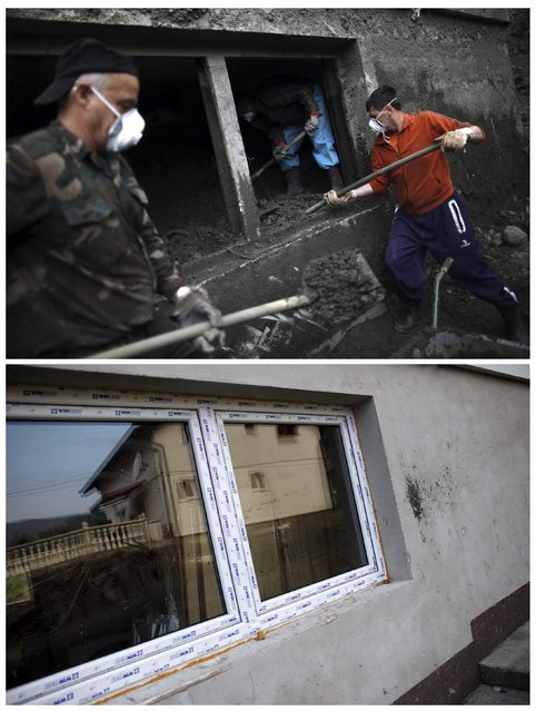 A combination photo shows members of the Kovacevic family clearing mud away from the kitchen in their flood-damaged home during floods May 31, 2014 (top) and the same place after floods October 8, 2014 in Topcic Polje. (Photo by Dado Ruvic/Reuters)
