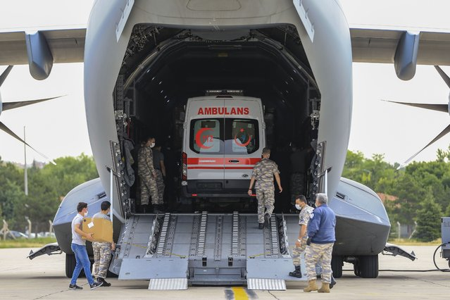 Medical supplies, are being loaded to the A400M military plane, to be sent to Chad to support the fight against the novel coronavirus (COVID-19) pandemic at Etimesgut Military Airport in Ankara, Turkey on June 18, 2020. Supplies sent to Central African country upon directives of Turkish president for the second time. (Photo by Muhammed Selim Korkutata/Anadolu Agency via Getty Images)
