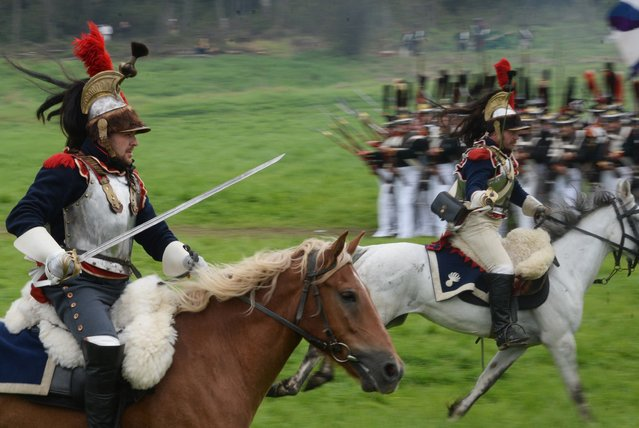 Participants in the Borodino Battle re-enactment during the show at the Borodino Field in the Moscow Region on September 4, 2016. (Photo by Kirill Kallinikov/Sputnik)