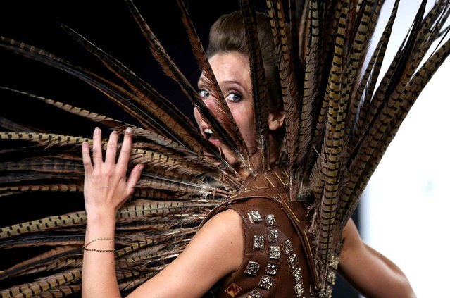Elodie Varlet walks the runway and wears a chocolate costume made by designer and a chocolate maker during the Fashion Chocolate show at Salon du Chocolat at Parc des Expositions Porte de Versailles in Paris, France, October 28, 2014. (Photo by LAURENTVU/SIPA Press)