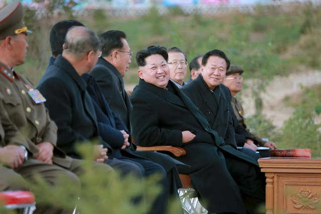 North Korean leader Kim Jong Un attends the completion event of the Paektusan Hero Youth Power Station in this undated photo released by North Korea's Korean Central News Agency (KCNA) in Pyongyang on October 4, 2015. (Photo by Reuters/KCNA)