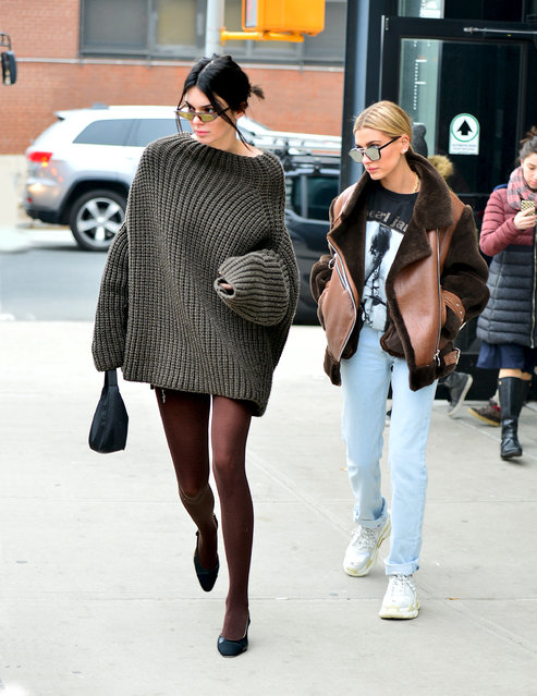 Kendall Jenner and Hailey Baldwin step out together during NYFW in NYC on February 10, 2018. (Photo by Splash News and Pictures)
