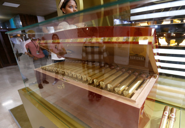 Cigars are displayed during the opening ceremony of the XX Habanos Festival in Havana on February 27, 2018. (Photo by Reuters/Stringer)