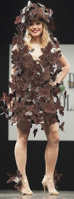 Singer Lea Deleau walks the runway during the Chocolate fashion show as a part of the Salon Du Chocolat 2015 - Chocolate Fair at Parc des Expositions Porte de Versailles on October 27, 2015 in Paris, France. (Photo by Kay-Paris Fernandes/WireImage)