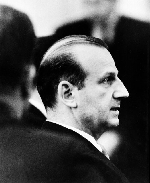 Jack Ruby listens to the guilty verdict and his death sentence in the electric chair for the murder of alleged assassin Lee Harvey Oswald in a courtroom in Dallas, Texas, on March 15, 1964. (Photo by AP Photo)