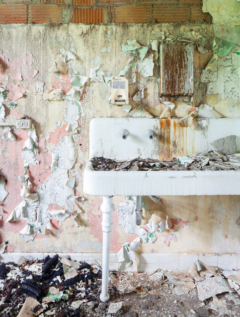 Chipped plaster, masonry, paint, and wallpaper fill a water basin. (Photo by Will Ellis/Caters News)
