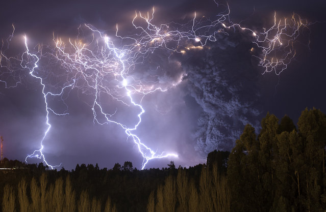 The eruption of Cordon Caulle began on June 4, 2011, located in the Region of Los Rios in Chile. For about 12 months, people and animals became accustomed to living with the daily fall of ash, which also caused problems in the air traffic in South America. The explosions and lightning during first days of the eruption could be seen from hundreds of miles around. This photograph was taken on the second night of eruption from the town of Lago Ranco. (Photo and caption by Francisco Negroni/National Geographic Traveler Photo Contest)
