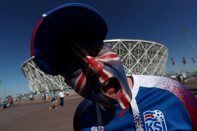 Iceland fan outside the stadium before the group D match between Nigeria and Iceland at the 2018 soccer World Cup in the Volgograd Arena in Volgograd, Russia, Friday, June 22, 2018. (Photo by Sergio Perez/Reuters)