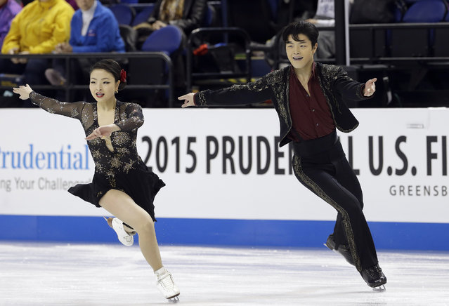 Maia Shibutani, left, and Alex Shibutani perform during their short dance program in the U.S. Figure Skating Championships in Greensboro, N.C., Friday, January 23, 2015. (Photo by Gerry Broome/AP Photo)