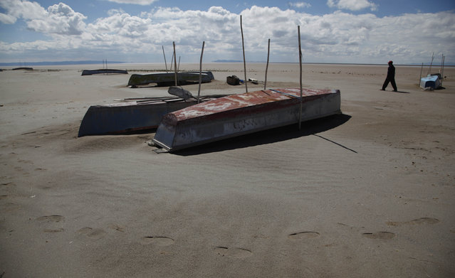 In this January 12, 2016 photo, a fisherman walks along the abandoned boats in the dried up Lake Poopo, on the outskirts of Untavi, Bolivia. As Andean glaciers disappear so do the sources of Poopo's water. But other factors are in play in the demise of Bolivia's second-largest body of water behind Lake Titicaca. (Photo by Juan Karita/AP Photo)