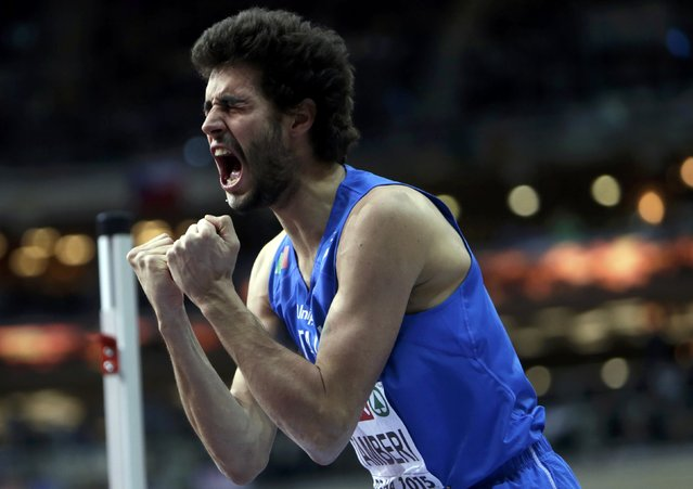 Gianmarco Tamberi of Italy reacts during the men's high jump final during the European Indoor Championships in Prague March 8, 2015. REUTERS/David W Cerny (CZECH REPUBLIC  - Tags: SPORT ATHLETICS)