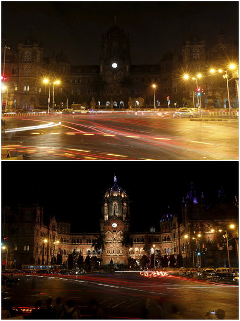 A combination picture shows the Chhatrapati Shivaji terminus railway station, also known as Victoria terminus, during and before Earth Hour in Mumbai March 28, 2015. (Photo by Shailesh Andrade/Reuters)