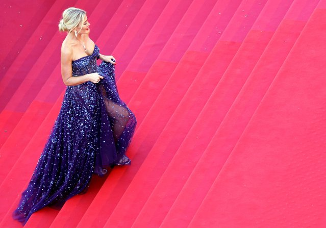 """Israeli socialite and TV host Hofit Golan arrives for the screening of the film """"Aline, The Voice Of Love"""" at the 74th edition of the Cannes Film Festival in Cannes, southern France, on July 13, 2021. (Photo by Eric Gaillard/Reuters)"""