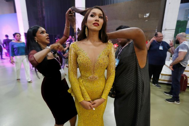 Larra Jassinta of Malaysia prepares backstage during the final show of the Miss International Queen 2019 transgender beauty pageant in Pattaya, Thailand on March 8, 2019. (Photo by Jorge Silva/Reuters)