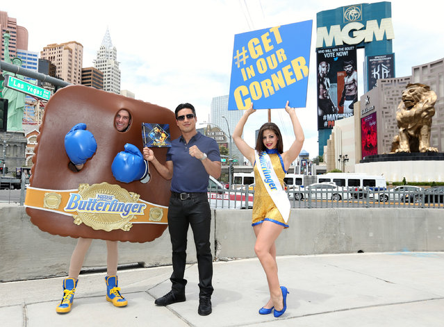 Mario Lopez joins Manny Pacquiao's #1 fan Butterfinger Cups Man in Las Vegas to rally fans on Friday, May 1, 2015. Fans can download the exclusive fight graphic at ButterfingerCups.com/GetInOurCorner. (Photo by Casey Rodgers/Invision for Butterfinger/AP Images)
