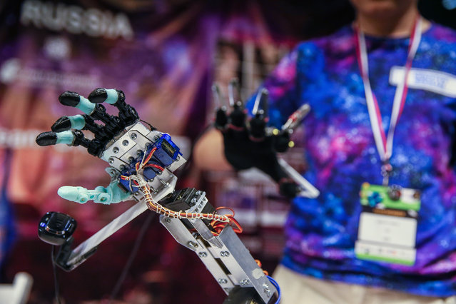 A bionic hand model is displayed during the FIRST LEGO League (FLL) Open International Turkey in Izmir, Turkey on May 23, 2019. United States, Australia, Lebanon, Uruguay and Turkey host the international finals of tournaments with 40,000 teams and 320,000 participants competing from all over the world. (Photo by Emin Menguarslan/Anadolu Agency/Getty Images)